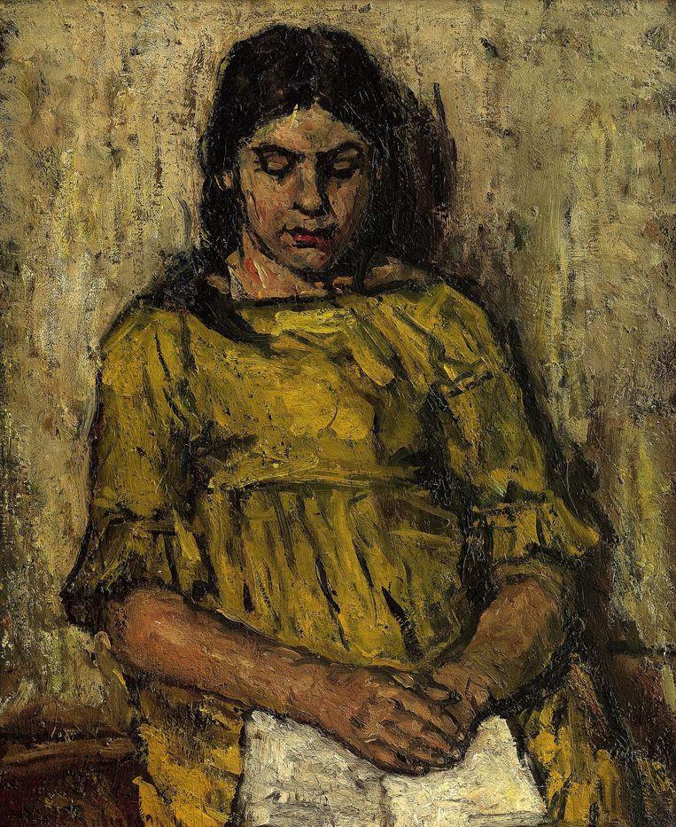 Meisje in gele jurk, lezend' van Suze Robertson (1855-1922) Beeld PAN