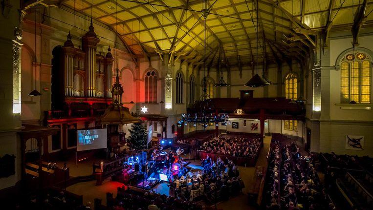 Top 2000-kerkdienst voor Serious Request, afgelopen zondag in de Grote Kerk van Apeldoorn. Beeld anp