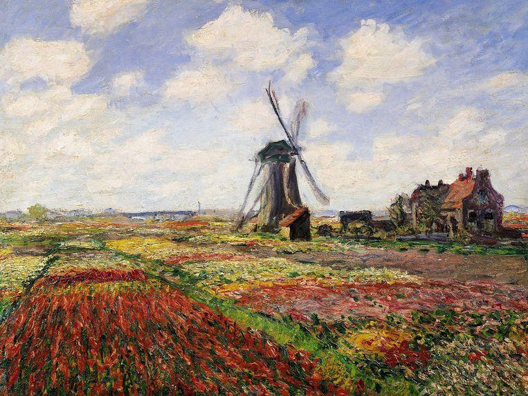 Claude Monet - Bollenveld met windmolen van Rijnsburg.  Beeld Musée d'Orsay