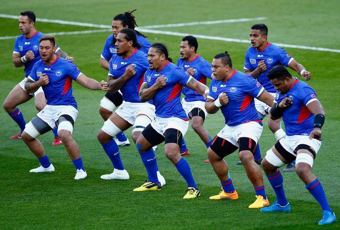 Het nationale rugbyteam van Samoa.