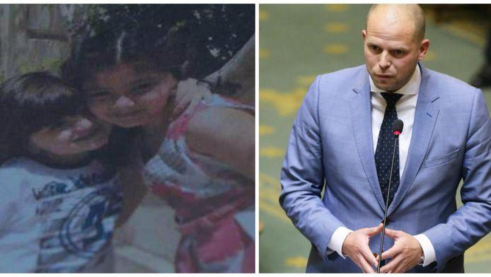 Links: de twee kinderen van het Syrische gezin. Rechts: Theo Francken vandaag in de Kamer.