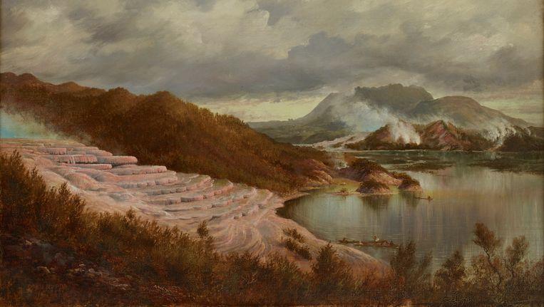 Een schilderij van de Rotomahana-terrassen Beeld Charles Blomfield, 1885