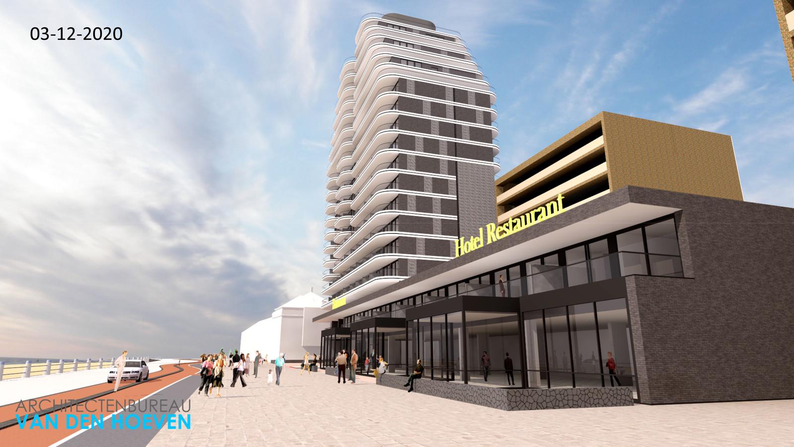 Impressie van het nieuwe hotel Britannia aan Boulevard Evertsen.
