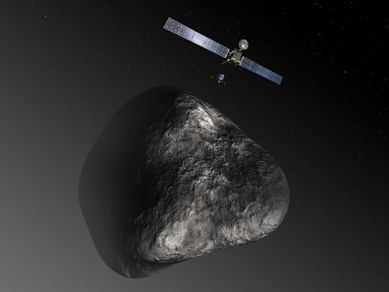 De Europese komeetverkenner Rosetta en de kleine lander Philae bij komeet 67P/Churyumov-Gerasimenko. Beeld ESA