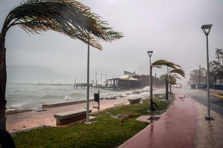 De orkaan Ianos op het eiland Kefalonia, in het westen van Griekenland. Beeld AP