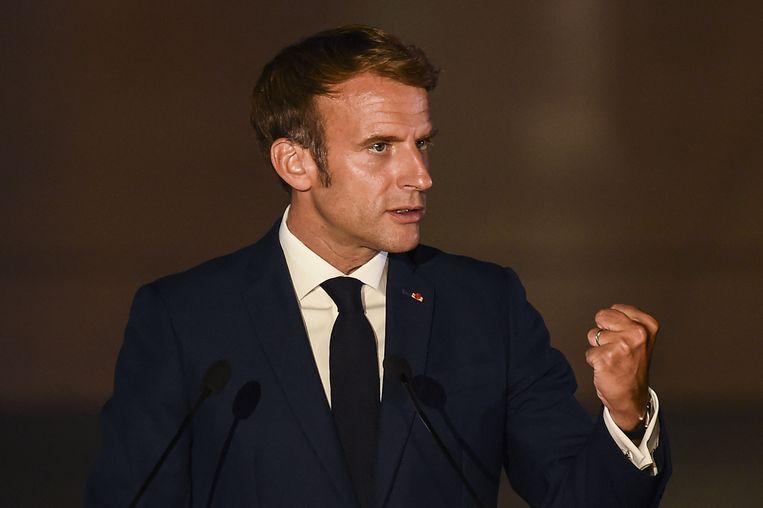 De Franse president Emmanuel Macron neemt de afgeketste onderzeeërdeal met Australië hoog op. Ook is Frankrijk woedend over het nieuwe veiligheidspact AUKUS tussen de Verenigde Staten, het Verenigd Koninkrijk en Australië. Beeld AFP