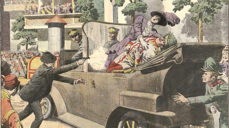 Tekening van de moord op Franz Ferdinand in 1914. Beeld