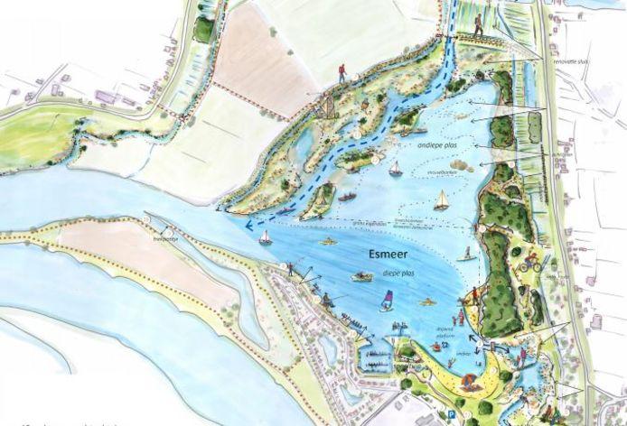 Detail van de kaart met de aanpassingen in recreatiegebied De Neswaarden.