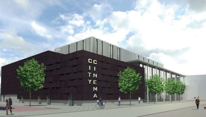 Een artist's impression van de nieuwe bioscoop in Roosendaal.