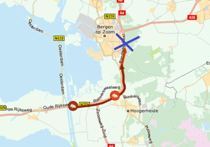 De A4 is dicht bij Bergen op Zoom.