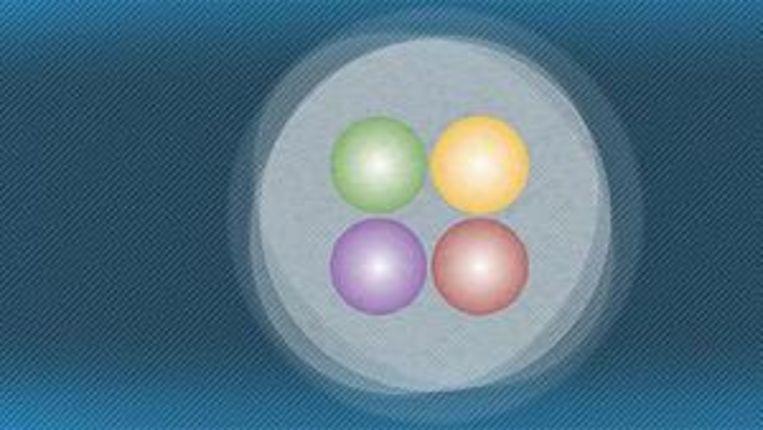 Tetraquark, opgebouwd uit vier verschillende quarks en zo zwaar als zes waterstofkernen. Beeld fnal