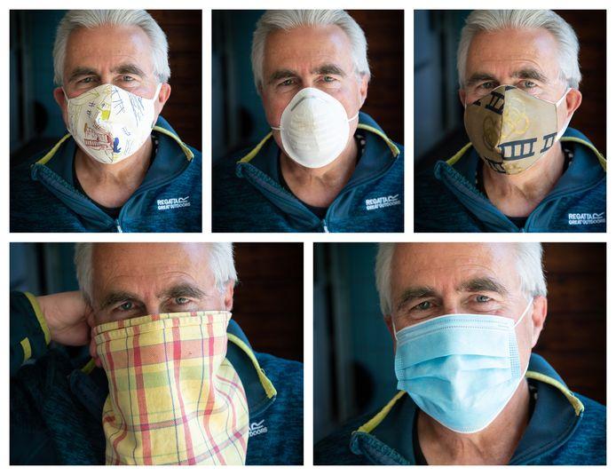 Van theedoek tot stofmasker. Diverse middelen om je neus en mond af te dekken op een rij.
