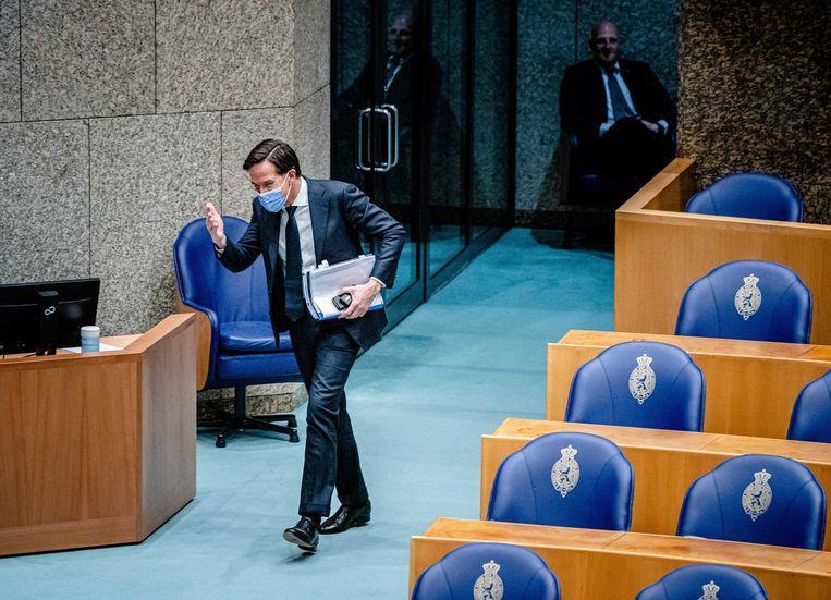 Demissionair premier Mark Rutte in de Tweede Kamer. Beeld ANP