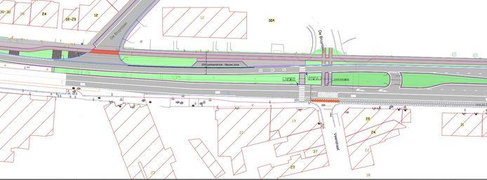 Het ontwerp voorziet onder andere in een verplaatsing van het zebrapad en een afsluiting van de De Bruynlaan rechtover de Veerstraat.
