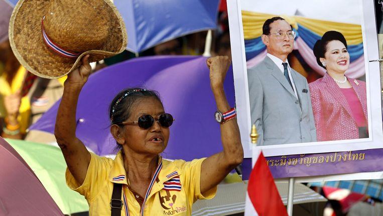 Een Thaise antiregeringsdemonstrant in Bangkok. Beeld epa