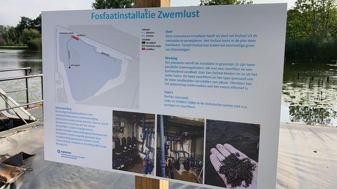 De zwemplas langs de Vecht tussen Breukelen en Nieuwersluis is nu gesloten en opent weer in de zomer.