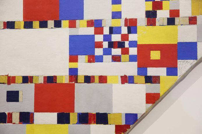 Het schilderij Victory Boogie Woogie van Mondriaan dat in het Gemeentemuseum hangt.