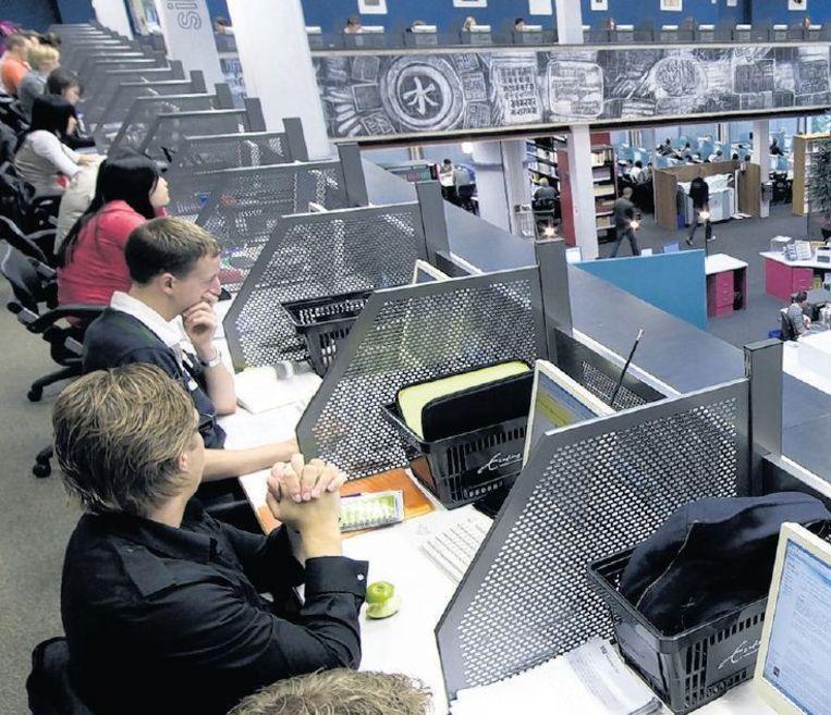 Studenten in de bibliotheek van de Erasmus Universiteit in Rotterdam. Beeld anp
