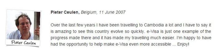 Op een Cambodjaanse site sprak Ceulen in 2007 lovend over de vernieuwde visumprocedure van het Aziatische land.