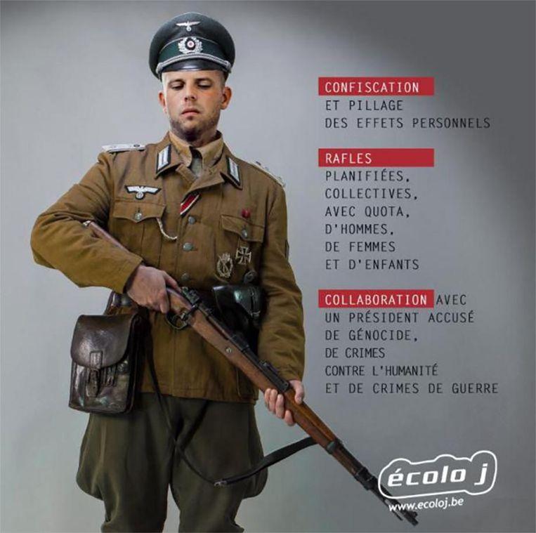 De bewuste gephotoshopte afbeelding waarin staatssecretaris Theo Francken (N-VA) als nazi-militair wordt afgebeeld.