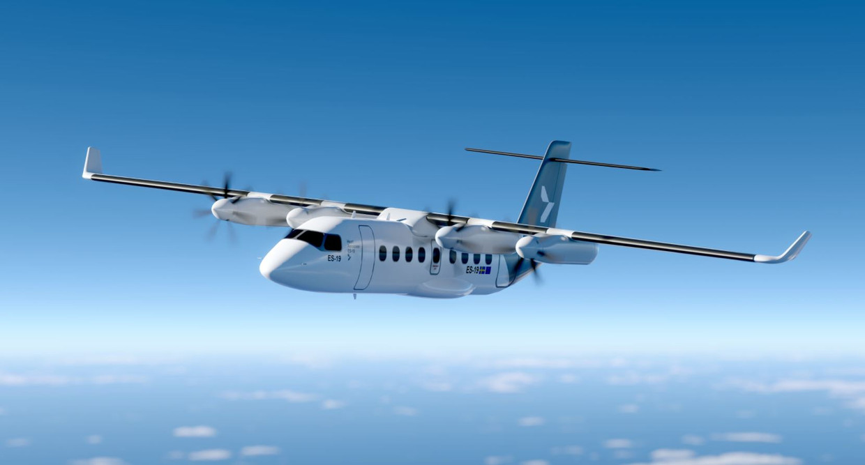 De elektrische ES-19 van het Zweedse Heart Aerospace. Het toestel moet in 2026 in dienst komen en 19 passagiers kunnen vervoeren. Beeld Heart Aerospace