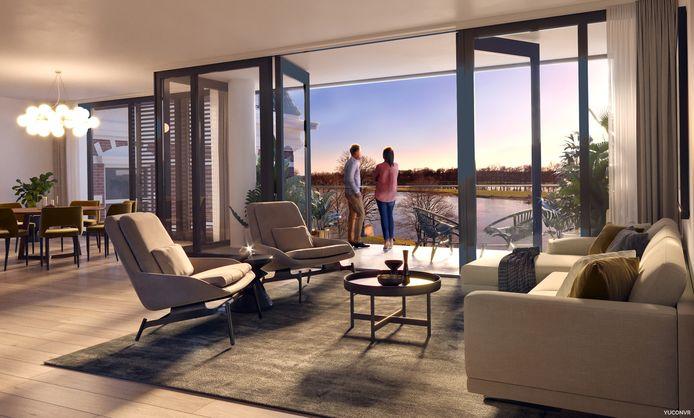 En zo ziet dat eruit als er appartementen aan de IJssel zijn gerealiseerd.