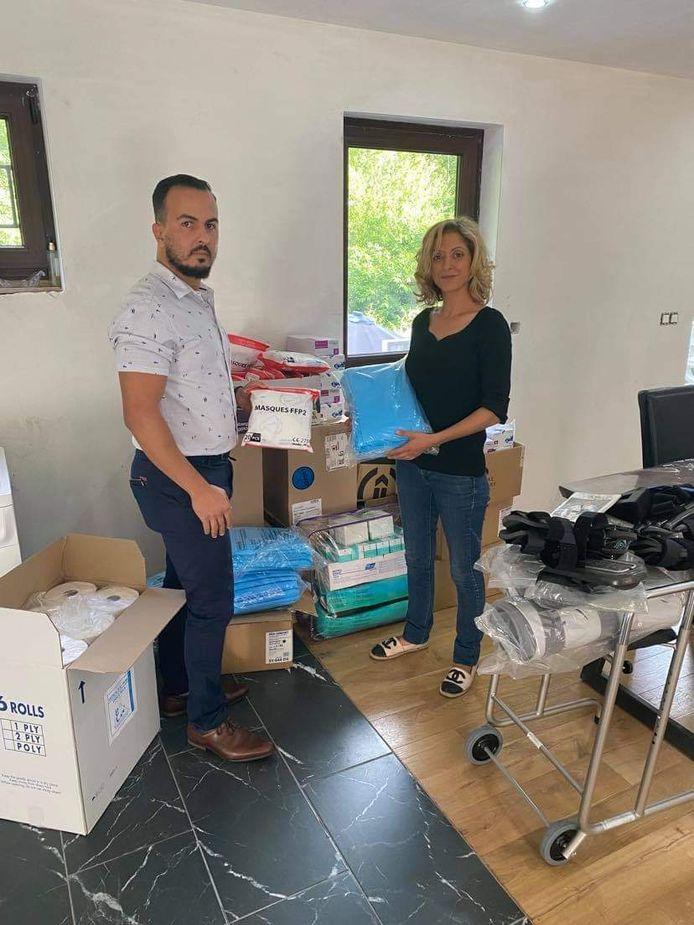 Marouane Hadbi et Abla Kateb emmagasinent des dons médicaux à Anderlues pour l'Algérie