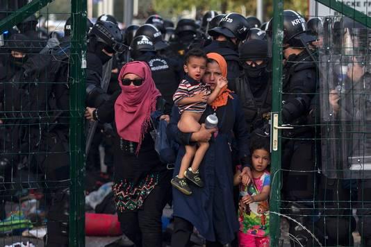 Grenspolitie stuurt migranten terug bij de grensovergang in Roszke.