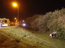 Auto schiet van afrit A28 bij Zwolle, bestuurder gewond naar ziekenhuis