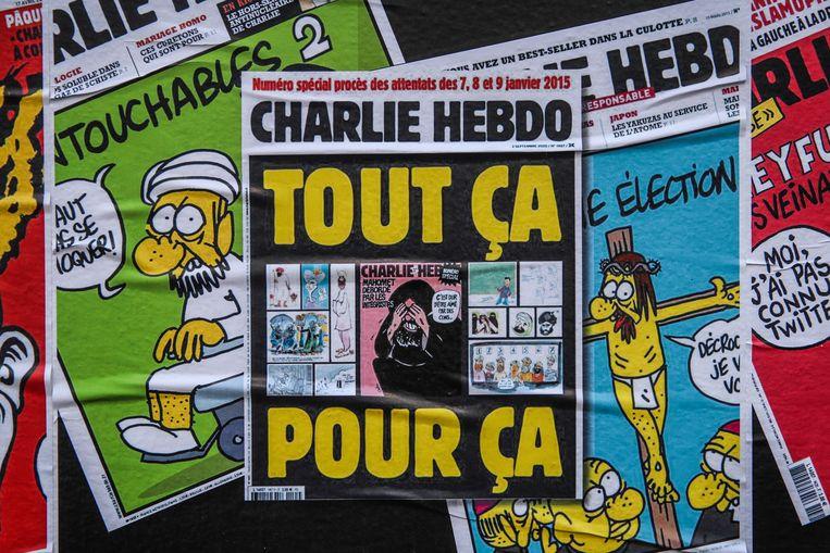 Cover van het satirisch weekblad Charlie Hebdo. Beeld EPA