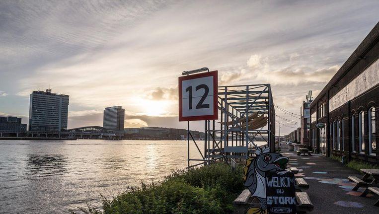 Zicht op de stad vanaf de plek in Noord waar de brug aan land moet komen Beeld Rink Hof