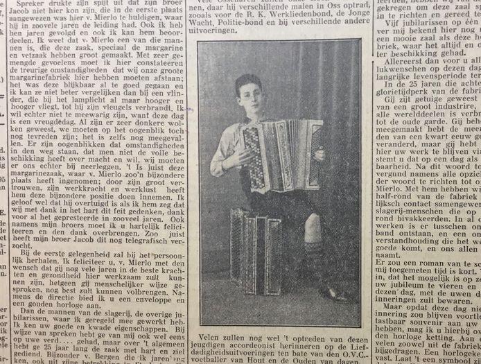 Coen van Orsouw (14) kwam in 1934 op de voorpagina de krant toen hij mocht optreden voor de KRO-radio.