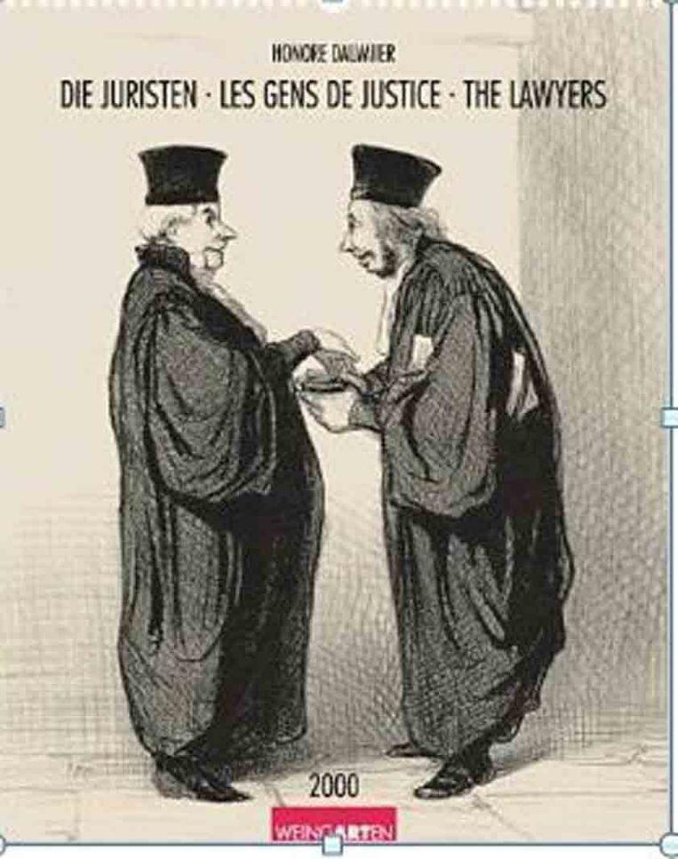 Daumier heeft een serie litho's gemaakt, waarin hij de juristen op de hak neemt. Dit is er een van. Beeld Daumier