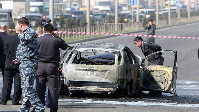 Een eerdere bomaanslag, in de hoofdstad Makhachkala op 16 april, trof de auto van een staatsbeveiligingsagent in Dagestan. Beeld reuters