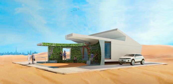Maquette duurzame woning LINQ van studententeam VIRTue van de TU Eindhoven dat wordt gebouwd in Dubai