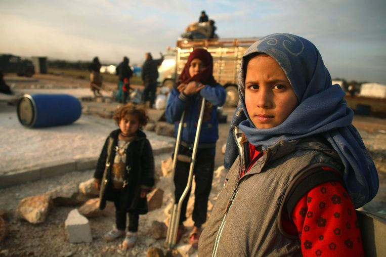 Vluchtelingen in SyriPe. Beeld AFP