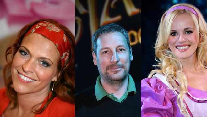 Links ex Karen, Gert Verhulst en ex Josje ook van K3.
