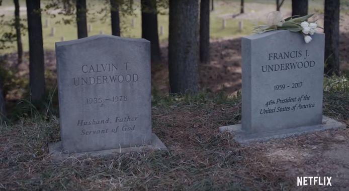 Het graf van Frank Underwood (Kevin Spacey), beeld uit de trailer van het laatste seizoen.