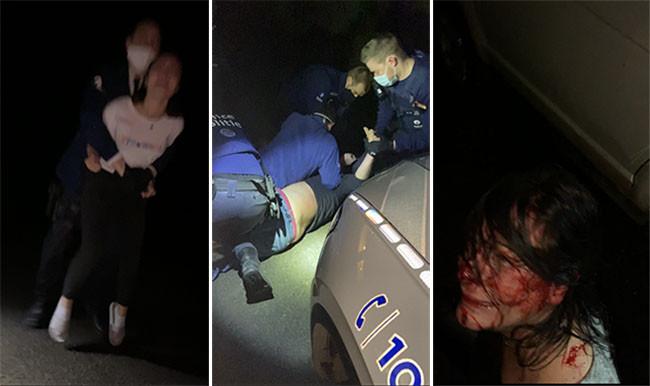 photomontage 7sur7/photos diffusées par Léa S. À gauche: Léa ceinturée par un agent - au centre: le père de famille, maîtrisé par la police - à droite: la mère de Léa, propriétaire des lieux, ensanglantée au cours de l'altercation avec les forces de l'ordre
