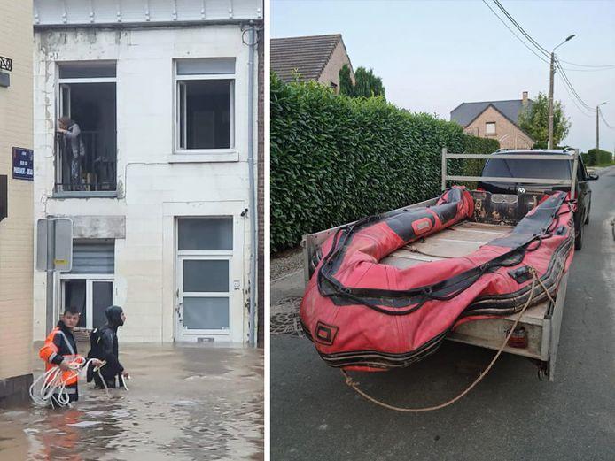 Marc Hublet (en combinaison de plongée) a retrouvé son bateau, qui lui a servi à sauver plusieurs vies à Chênée, dans un piteux état après que celui-ci a été volé.