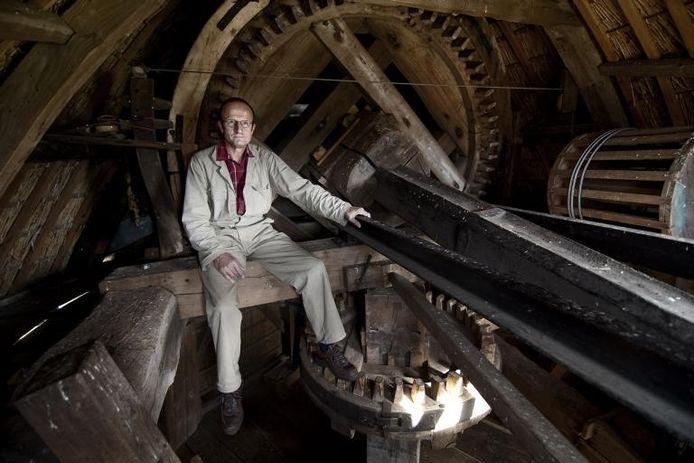 Jan Pijnappel, 40 jaar molenaar van De Hoop in Oud-Zevenaar. foto Jan van den Brink