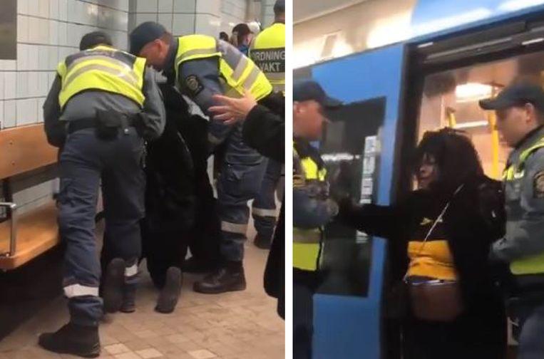 Het filmpje toont hoe enkele veiligheidsagenten een hoogzwangere Zweedse vrouw tamelijk hardhandig uit de metro sleuren.