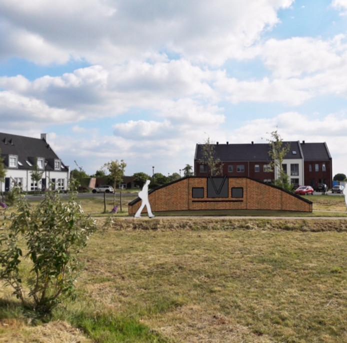 Een impressie van het monument op het plein in de wijk De Eng in Veen.