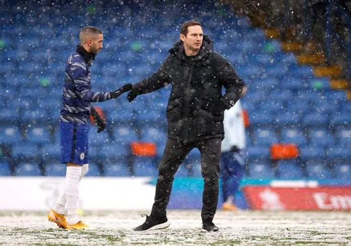 Frank Lampard gisteren met Hakim Ziyech.