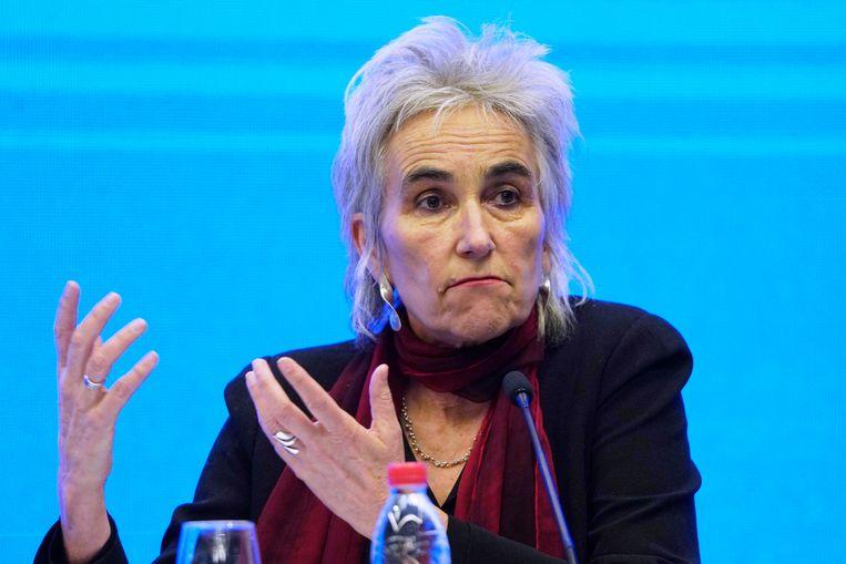 Viroloog Marion Koopmans spreekt op een persconferentie na de WHO-onderzoeksmissie in Wuhan in februari van dit jaar. Beeld AP