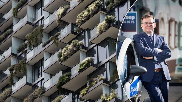 """""""Allemaal groter gaan wonen, is onmogelijk"""", zegt vastgoedexpert Thomas Valkeniers. """"We zullen efficiënter moeten omgaan met wat we hebben."""""""
