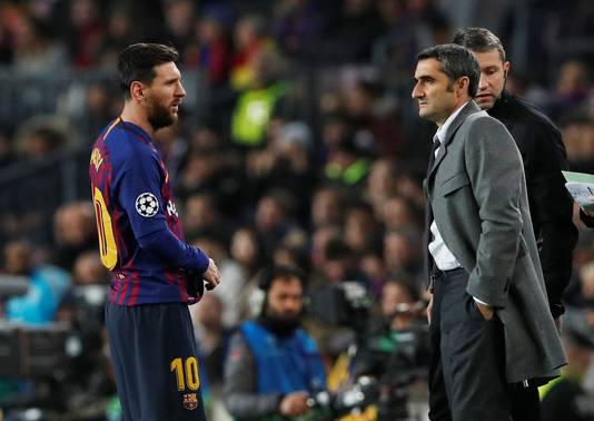 Lionel Messi en Ernesto Valverde.