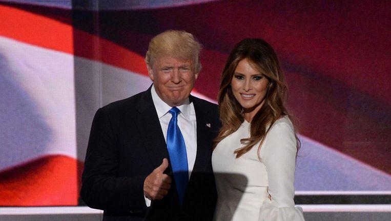 Donald Trump en zijn vrouw Melania op de Republikeinse conventie in Cleveland. Beeld afp