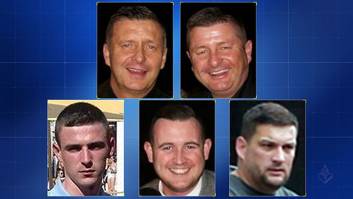 De vijf Schotten, van linksboven met de klok mee: James Gillespie, Barry Gillespie, James White, Christopher Hughes, Jordan Owen
