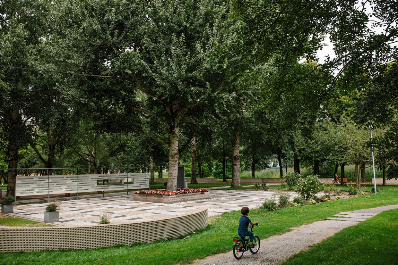 Amsterdam Zuidoost, 3 augustus 2020. De Boom Die Alles Zag. Bijlmerramp monument aan het Nellesteinpad in Zuidoost. foto: Marc Driessen